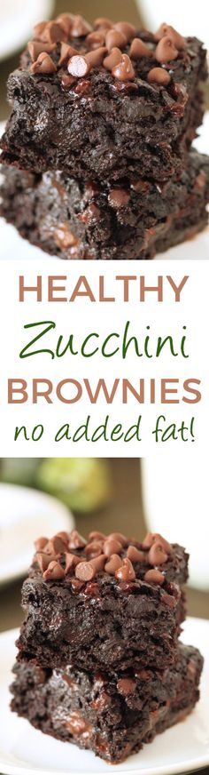Chocolate Zucchini Brownies - 100% whole grain (can also be made with all-purpose flour), dairy-free, and they have no added fat other than what is in the chocolate chips! So gooey and chocolaty, nobody will have a clue that these are made healthier!
