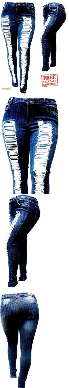 d8c8e3f6114 Jeans 11554  Jack-D Womens Plus Size Stretch Distressed Ripped Blue Skinny  Denim Jeans