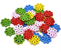 Biodawn 50pcs Mixed 2 Holes Flower Wood Wooden Buttons for Sewing Crafting ** Read more at the image link.