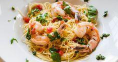 Shrimp, Tomatoes, Arugula and Capellini