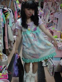 spank fairy kei girl with pony fabric dress, crocheted capelet