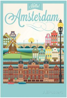 Retro Style Poster With Amsterdam Symbols And Landmarks Art Print by Melindula… Amsterdam Holland, Amsterdam Travel, Amsterdam Images, Visit Amsterdam, Amsterdam Red Light District, Illustrations Vintage, Retro Poster, Vintage Travel Posters, Art Prints
