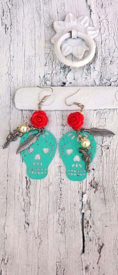 Turquoise Sugar Skull Pistol Earrings by Secret Stash Boutique on Etsy