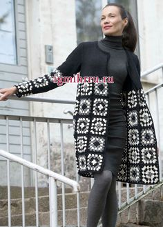 The elegant three-color cardigan with delicate motifs. Crochet