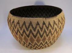 Vintage Large Panamint Indian Polychrome Basket Storage Basketry Bowl | eBay