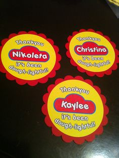 Personalized Playdoh theme party favor tags  by PaperDressDesigns, $15.00