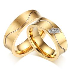 US$ 1.83 Stainless Steel Wavy Line Center Brushed Gold Engagement Rings