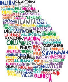 Large GEORGIA - Digital Illustration Print of Georgia State with Cities Listed Georgia Girls, Georgia On My Mind, Georgia Usa, Dalton Georgia, Georgia Homes, Atlanta Georgia, Marketing Relacional, Typographie Logo, Ga In