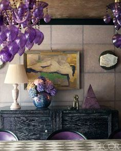 Kelly Wearstler Design - Midcentury Modern Interiors - ELLE DECOR - Dining Room I like the use of all of these colors together. Purple Interior, Interior Desing, Interior Exterior, Decoration Inspiration, Color Inspiration, Interior Inspiration, Decor Ideas, Kelly Wearstler, Ideas