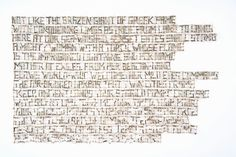 """""""Not Like"""" Shredded money, thread, 14 x 22.5 inches, 2017 by Lisa Kokin  Text is from """"The New Colossus"""" by Emma Lazarus."""