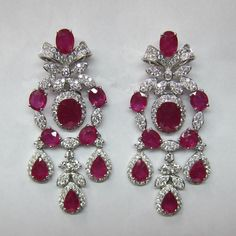 18.46CTW Ruby and Diamond Dangling Earrings F SI 18K White Gold