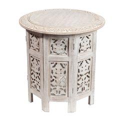 Table bout de canapé Saranya blanchie - H 44 x L 46 x PR 46 - Composition : Bois