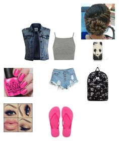 """""""school"""" by coolcg12 ❤ liked on Polyvore featuring Topshop, OBEY Clothing, Havaianas and Object Collectors Item"""