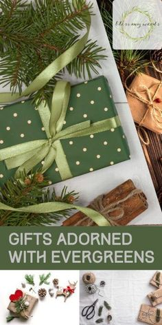 If you have never seen gifts adorned with evergreens before, then you need to see these ideas! Using evergreens to spruce up your Christmas gift wrappings is an adorable idea. Christmas Gift Wrapping, Christmas Gifts, Christmas Decorations, Christmas Garden, Evergreen, Blessed, Wraps, Blog, Gift Ideas