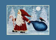 Christmas Winter Folk Art Note Card - Custom greeting 5 x 7 inch Glossy Card from Original Painting of Santa Pulling His Sack of Toys