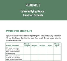 Cyberbullying Report Card for Schools (from Cyberbullying Research Center) - Link to PDF:  http://www.cyberbullying.us/cyberbullying_report_card_2014.pdf