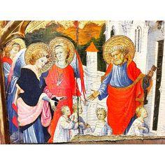 22 février - fête de la Chaire de saint Pierre à Antioche. (Saint Pierre recevant les âmes présentées par saint Michel à l'entrée du Paradis - Miguel Alcañiz 1421)