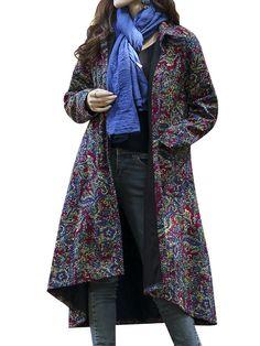 Thick Ethnic Printed Retro Style Vintage Loose Women Coat