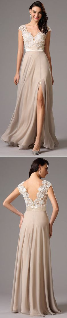 Plunging neck lace bodice evening gown!