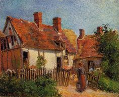 Old Houses At Eragny by Camille Pissarro Handmade oil painting reproduction on canvas for sale,We can offer Framed art,Wall Art,Gallery Wrap and Stretched Canvas,Choose from multiple sizes and frames at discount price. French Impressionist Painters, Impressionist Artists, Paul Cezanne, Claude Monet, Camille Pissarro Paintings, Pissaro Paintings, Pintura Exterior, Post Impressionism, Oil Painting Reproductions
