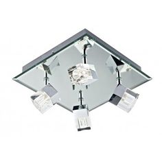 Modern polished chrome bathroom ceiling light with 4 individual spot lights attached. IP44 rated for safe use in bathroom zones 1 and 2. Suitable for use in any contemporary bathroom