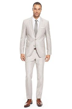 The groom/groomsmen: Hugo Boss 'Hedge/Gense' | Slim Fit, Wool-Blend Suit, Medium Beige