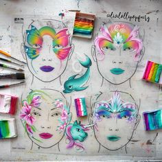 One stroke face painting. Demo face painting on FAB wipeable boards, ready for face painting training in Leicester. Face Painting Supplies, Face Painting Tips, Face Painting Tutorials, Mask Painting, One Stroke Painting, Painting Tattoo, Face Painting Designs, Painting Lessons, Painting For Kids
