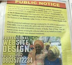 Man Spends Over N400k On Newspaper Advert To Disown His Child (Pics)   What is going on here? What actually happened that a man in Osun had to take to one of the National Dailies to disown his child?        . >>> See More >>>http://u.to/ZJWyDw  ***************  *Now is the time to get great Website Design. .. Call/Whatsapp 08035772234
