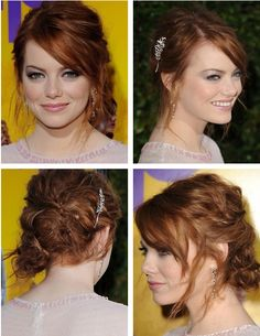 Red carpet hairstyle. beautiful updo - Emma Stone. Celebrity Hairstyle.