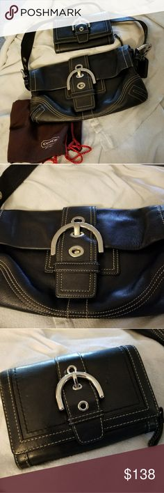 COACH PURSE AND WALLET SET 2PC SET COACH BROWN LEATHER  PURSE AND WALLET SET IN GOOD CONDITION USED A COUPLE OF TIMES NO RIPS OR TEARS COMES WITH A DUST BAG GREAT TO USE ON A NIGHT OUT 10X6  & 6X4 Coach Bags Shoulder Bags