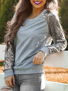 Trendy Jewel Neck Long Sleeve Sequined Sweatshirt For Women