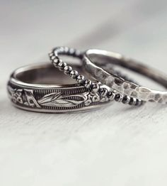 Rustic Sterling Silver Stacking Rings