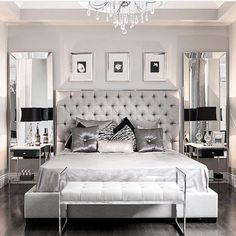 This modern glam bedroom uses shiny and lustrous fabrics, metallics and hues of grey, silver and black to create a glamorous and modern bedroom design. Glam Bedroom, Home Bedroom, Silver Bedroom Decor, Trendy Bedroom, Silver And Grey Bedroom, Modern Grey Bedroom, Silver Room, Small Grey Bedroom, Bedroom Decor Elegant