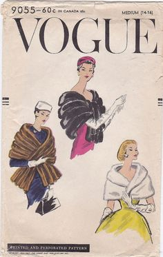 Shawl Cape Stole Faux Fur Off The Shoulder Wrap Formal Evening Opera  Vintage Sewing Pattern Vogue 9055 1957  Fitting Measurements :  Size
