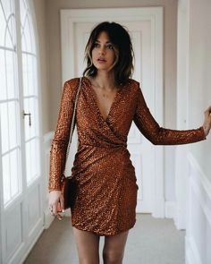 Caroline Receveur stuns in shimmering wrap dress. Fall Outfits, Fashion Outfits, Party Outfits, Ootd Fashion, Fashion Clothes, Party Dresses, Wrap Dress, Dress Up, Golden Dress