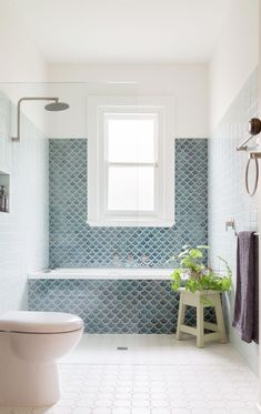 Fishscale: Handmade fish scale, or mermaid, tiles become a key feature in this b. - Fishscale: Handmade fish scale, or mermaid, tiles become a key feature in this bathroom with a gene - Family Bathroom, Laundry In Bathroom, Bungalow Bathroom, Bathroom Plumbing, Bathroom Plans, Bathroom Hardware, Bathroom Renos, Bathroom Renovations, Bathroom Vanities