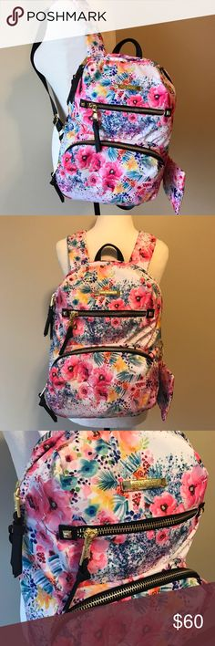 BRAND NEW Adorable Steve Madden Floral Backpack Brand new with tags!!! Perfect for the upcoming Spring season! Features multiple inside pockets, multiple outside pockets, and a padded laptop pocket. Approx. Length is 15 inches and approx. Width is 11 inches. Steve Madden Bags Backpacks