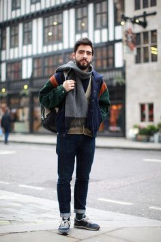 We're loving Jeremias varsity style jacket and casual sneakers #BurtonStreetStyle