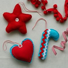 xmas ornaments make with burlap and paint....I think the star and heart woild be really cute with natural colored burlap.