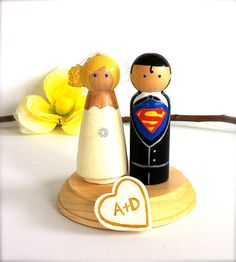 Superman WEDDING CAKE TOPPER with by CreativeButterflyXOX on Etsy, $86.00