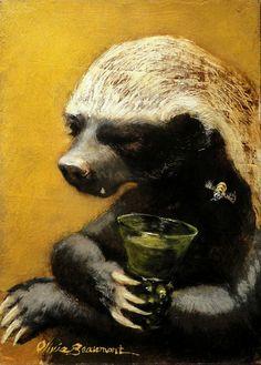 Honey Badger Art - Original Oil Painting by Olivia Beaumont. $650.00, via Etsy.