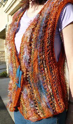 Road to Marrakech vest, from a pattern by Jane Thornley Crochet Waistcoat, Knit Vest, Crochet Cardigan, Knit Or Crochet, Easy Crochet, Patron Crochet, Cotton Crafts, Vest Pattern, Freeform Crochet