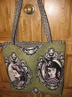 "Large tote, featuring ""Nightshade"" by Tula Pink, sold!  Fabric purchased at Crimson Tate, Indianapolis.  SOLD"
