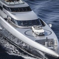 An amazing view of a cool Mercedes on a luxurious Yacht