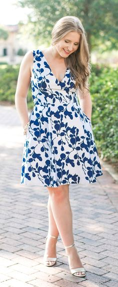 The perfect floral fit and flare dress | what to wear to a wedding | Betsey Johnson floral dress | cute maternity outfit idea | dressy outfit idea by Florida fashion blogger Ashley Brooke Nicholas | preppy fashion, preppy style, beautiful dresses