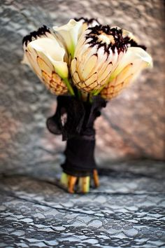 unusual and Interesting Flower Bouquet. black & white, exotic flowers