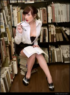 Sexy Librarian 2 : Hot for Books Stockings In Public, Naughty Librarian, Books To Read For Women, Opus, Woman Reading, Office Ladies, World Best Photos, Pin Up Girls, Fashion Models