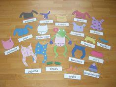 Anziehspiel - englische Vokabeln - auch als Bastelübung lustig  Froggy gets dressed