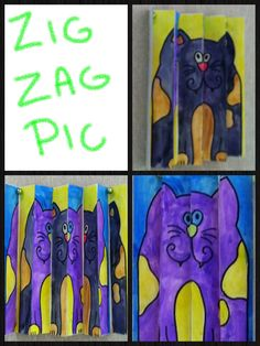 4th grade-2 of the same pics painted different ways. Cut each into four strips and glue onto according folded paper.