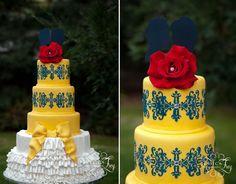 Beauty-Beast-inspiration-navy-yellow-wedding-03, yellow & navy wedding cake, blue damask cake, Beauty and the Beast Cake